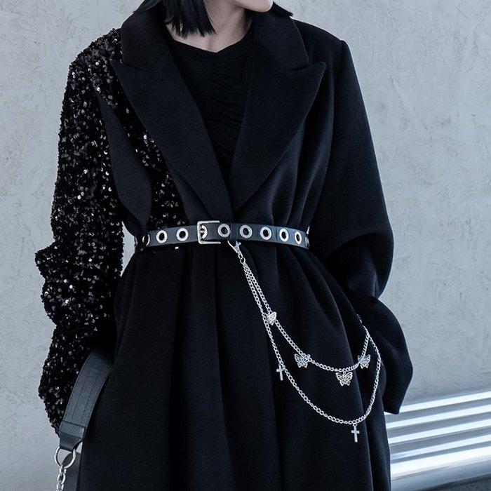 【鈷藍家】暗黑哲學原創金屬感龐克風腰帶女高街設計感皮革蝴蝶可拆鏈條真皮皮帶cs