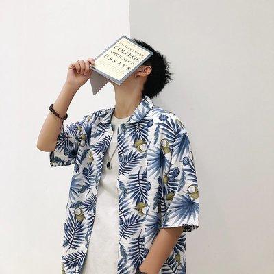 『型男風』M-2XL 實拍 19夏款清涼花色襯衫 男士青年寬松襯衣 現貨