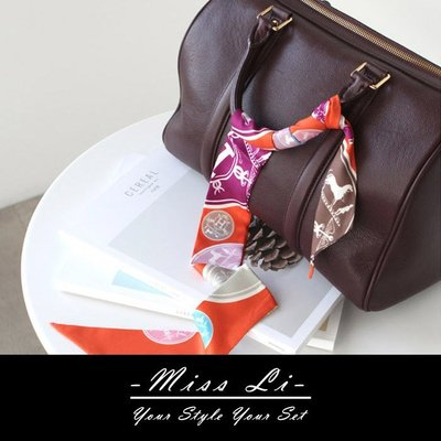 Miss Li【SC09】H字母徽章 包包絲巾/Twilly手把綁巾/手環/髮帶/生日禮物首選