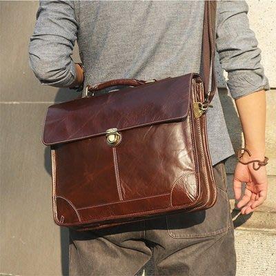 手提 包 真皮公事包-經典15.6吋牛皮電腦包男包包73ur41[獨家進口][米蘭精品]