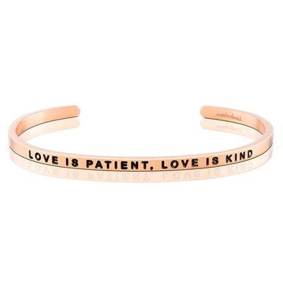 MANTRABAND 台北ShopSmart直營店 Love is Patient Love is Kind 玫瑰金手環