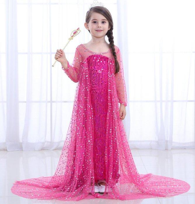 *蜜寶貝*萬聖節童裝 中大女童冰雪奇緣短袖連衣裙E08愛莎兒童公主裙 造型服飾 禮服 尺寸100-150CM-0024