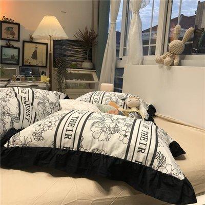 居家床單被罩四件套黑白赫本花黑色花邊ins氣質少女心田園風碎花床上四件套全棉純棉