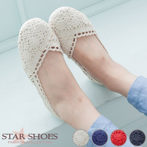 STAR SHOES-微甜女孩滾邊蕾絲圓頭平底娃娃鞋#9981