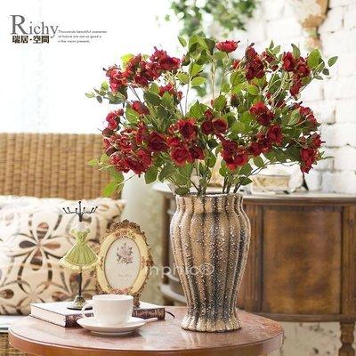 INPHIC-約瑟芬法式玫瑰維那斯桌擺陶花瓶 仿真花套裝絹花裝飾花