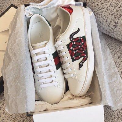 【BLACK A】精品 GG Ace 印度刺繡珊瑚蛇小白鞋 男款