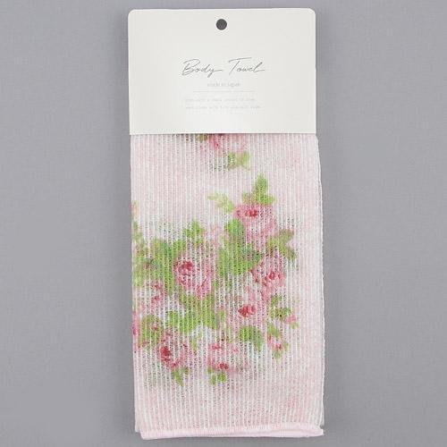 ~~凡爾賽生活精品~~全新日本進口粉底玫瑰花綠葉造型沐浴用洗澡巾.擦澡巾~日本製