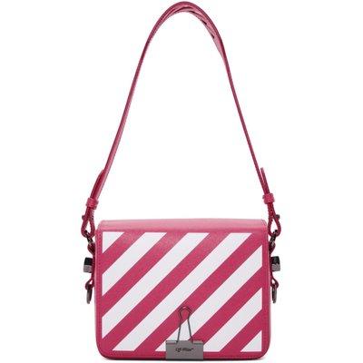 Off-White 粉紅Diagonal Flap Bag M size