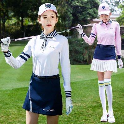 618購物節~ 新款高爾夫服裝 女士長袖T恤衫 韓版條紋翻領運動球服 現貨台灣