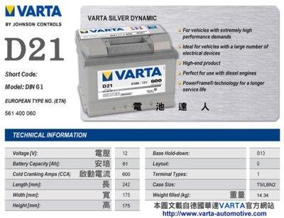 DIY自取舊換新 華達 電瓶(D21 61AH)電池 COOPE LUPO POLO GOLF 55566 56220