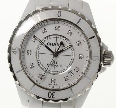 【Luxury Room極盡奢華】保證真品CHANEL白色全陶瓷38mm自動上鍊12顆點鑽J12手錶H1629鑽錶 台北市