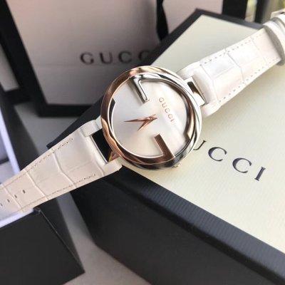 GUCCI 白色真皮錶帶女士石英手錶 附盒子 禮品袋