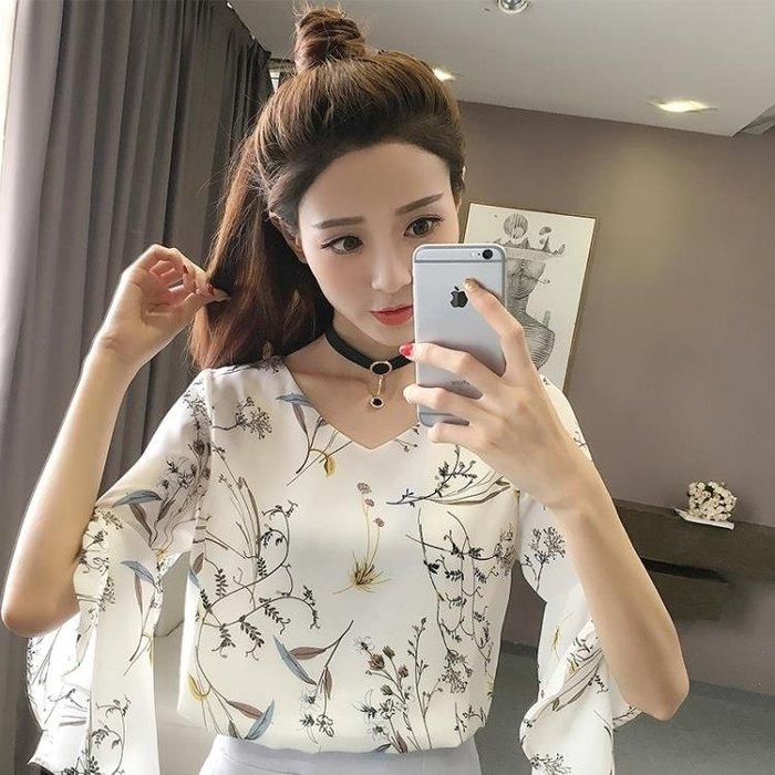 碎花雪紡衫女夏季女裝新款韓國寬鬆v領t恤短袖女喇叭袖短款上衣服S-3XL
