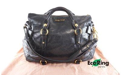 [Eco Ring HK]*Miu Miu 2 Way Bag Black Leather*Rank BC-207001940-