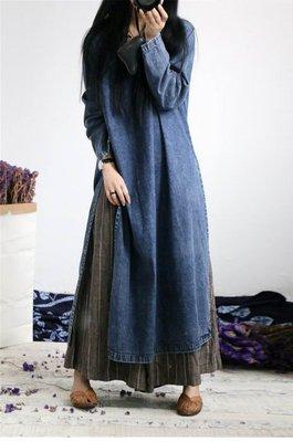 【子芸芳】文藝復古改良盤扣精緻中國風牛仔連衣裙寬鬆大碼