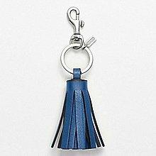 【美國精品館】COACH 62376 SINGLE LEGACY TASSEL KEY RING (藍) 皮革流蘇鑰匙圈~1,100含運