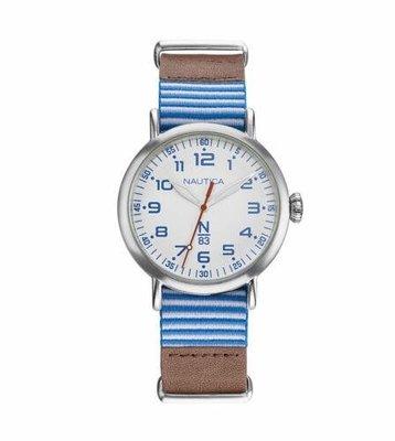 Nautica中性手錶 NAPWLS904 Wakeland 40毫米藍色錶盤皮革手錶