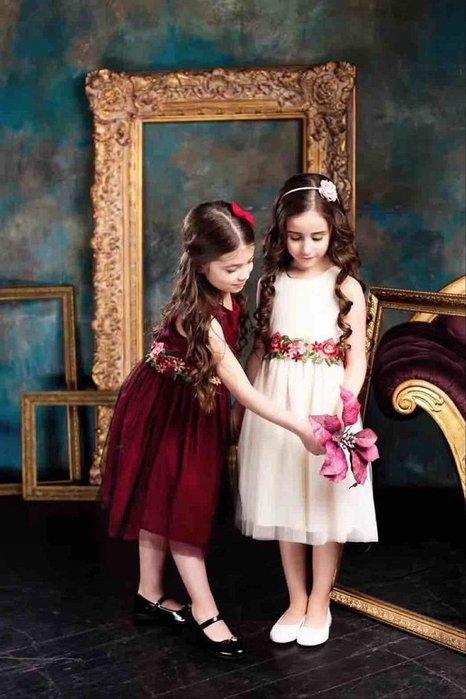 女童酒紅色優雅無袖花朵刺繡網紗氣質禮服3-9歲