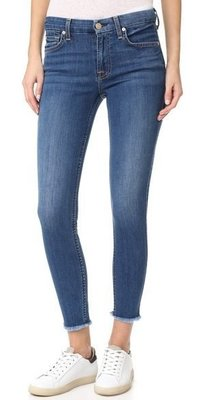 ◎美國代買◎7 For All Mankind Skinny Jeans with Raw Hem經典藍抽鬚高腰顯廋款
