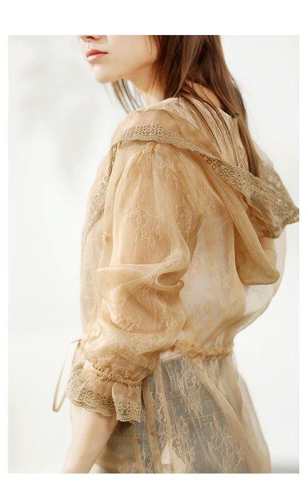 *菇涼家*很仙的外套氣质歐根纱防晒衣薄款蕾丝出游開衫长袖真丝仙女外套
