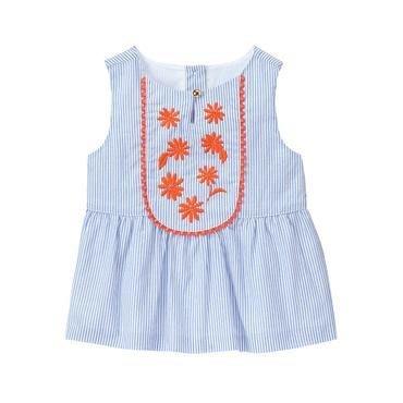 降價囉~~[全新真品美國購回] 美國童裝名牌Janie and Jack 淺藍條紋橘色熱帶花朵上衣 5T