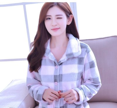 FuNFang_韓版法蘭絨冬季睡衣@加厚套裝寬鬆家居服_特殊格紋《#5028》