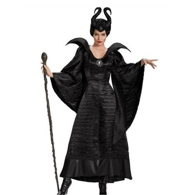 Movie Maleficent Costume Fancy Dress Outfit With Horns萬圣節
