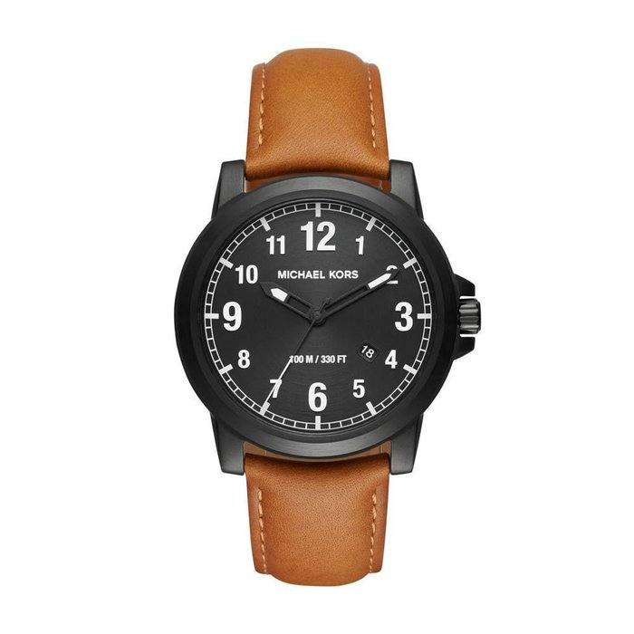 美國百分百【Michael Kors】手錶 MK8502 腕錶 MK 男錶 不鏽鋼 駝色皮錶帶 日期 黑色錶面 I458