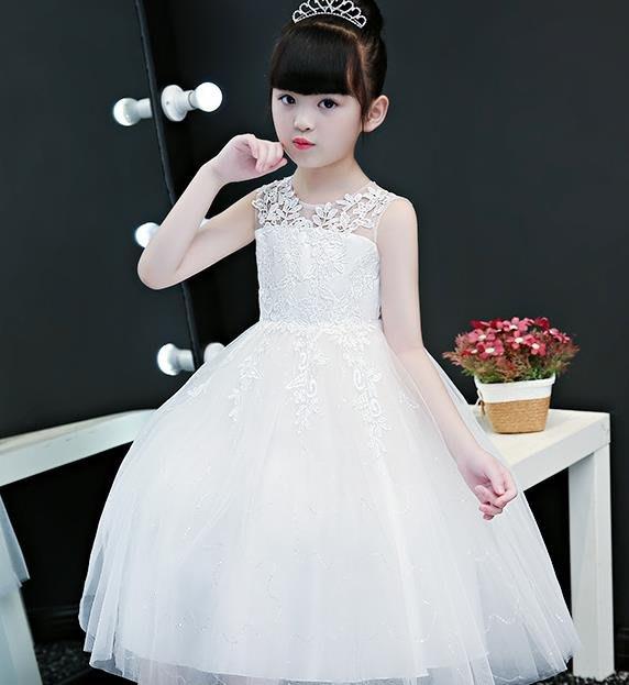 紫滕戀推出夏季兒童公主裙女童長款禮服裙花童小女孩鋼琴表演出服大童蓬蓬紗