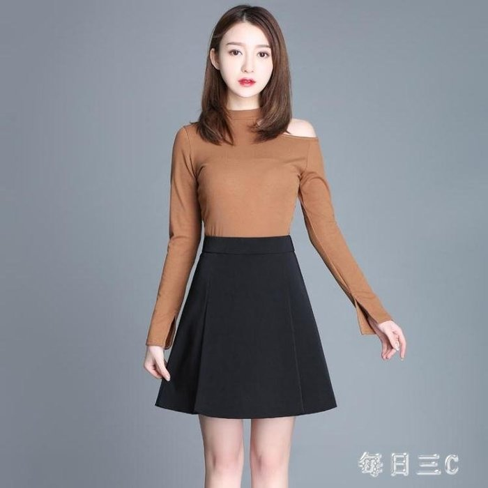 職業半身裙女A字短裙秋季黑色高腰新款正裝秋冬工作裙工裝裙子 zm12350