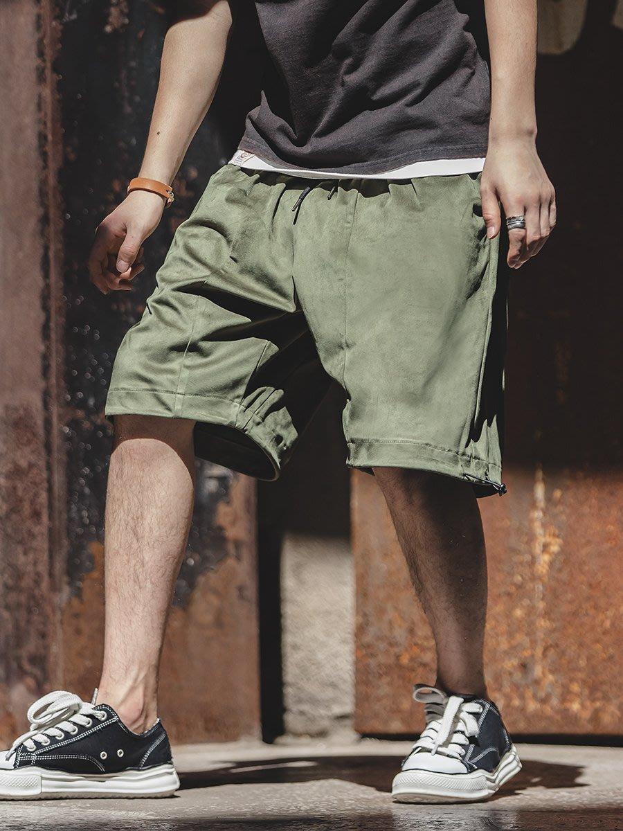 拓荒者革製所。日系復古麂皮短褲休閒鬆緊工裝褲阿美咔嘰寬鬆軍事風五分褲男