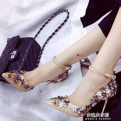 ZIHOPE 伴娘鞋一字扣高跟鞋女春夏新款女鞋金色花朵尖頭細跟淺口伴娘鞋女ZI812