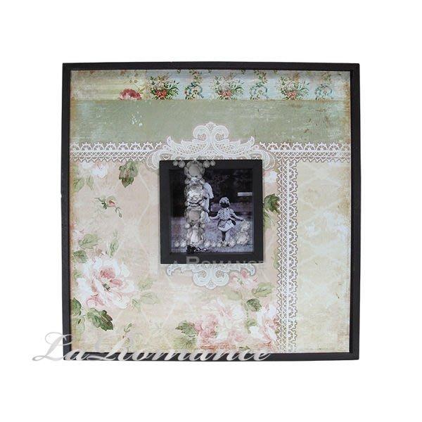 【芮洛蔓 La Romance】玫瑰蕾絲緞帶木製相框畫飾 - A