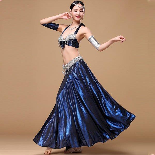 5Cgo【鴿樓】會員有優惠  529644725316 新款高檔肚皮舞表演套裝埃及中東舞蹈水晶鑽石演出團服 表演服