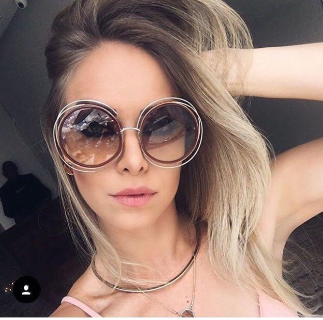 Chloe 經典簍空金色金屬大圓框 新款咖啡色漸層太陽眼鏡 CE120S 735 公司貨 女神經典款