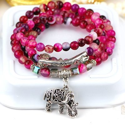 「還願佛牌」泰國 佛牌 鍊 鏈 串珠款 項鍊 單掛 經典 小象 大象 花紋紅瑪瑙   鑫