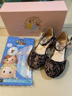 現貨 Grace gift 迪士尼 公主 瑪莉珍鞋 女童 黑色 蕾絲 童鞋 送冰雪奇緣 tsumtsum 兒童口罩非醫療