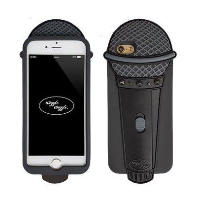韓國 趣味黑色麥克風 安全矽膠保護套 手機殼│iPhone 6/6S Plus│z7608