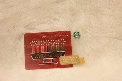 美國 2014 JOYOUS KWANZAA STARBUCKS 星巴克 隨行卡 儲值卡 星巴克卡 限量 收藏