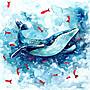 ins北歐居家設計風床頭掛毯 藍色海洋風鯨魚...