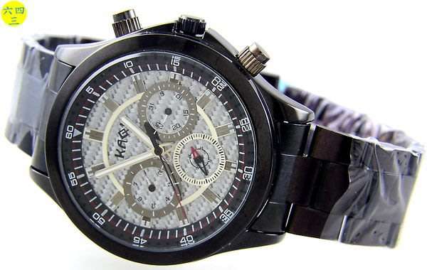 (六四三精品)錶徑4.0公分.黑色錶殼及錶帶.碳纖維錶面.三眼六針自動上鍊機械錶!白