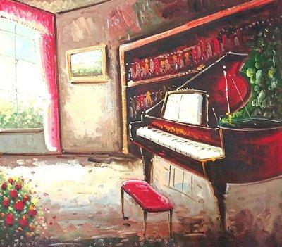 【松風閣畫廊-裱框裝框裱褙】小琴房圖 ✽50x60公分✽ 手繪油畫 s18047