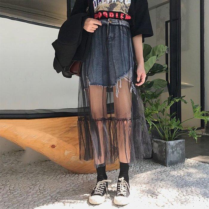 韓版 復古 港風 歐美 時髦網紗拼接毛邊牛仔半身裙女夏季新款韓版復古百搭高腰顯瘦包臀短裙