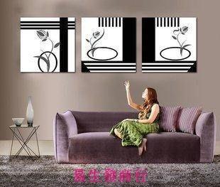 【易生發商行】黑白抽象歐式壁畫/現代客廳無框畫三聯畫/時尚沙發背景墻裝飾畫F6051