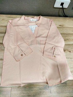 全新粉色七分袖雪紡襯衫s