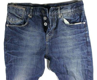 Superdry 極度乾燥 牛仔褲 鬼洗仿舊 深藍色 日系設計 英國潮牌 34【 以靡賣場 專櫃正品現貨】