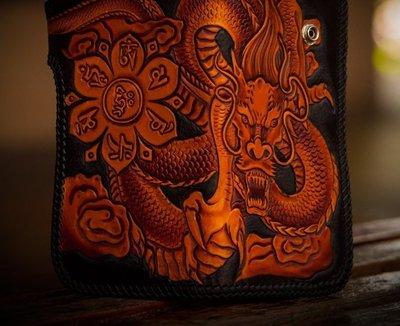 NYCT 韓國高品質限定原創 歐美熱賣頂級百搭時尚手工長款頭層牛皮錢包手工雕刻皮雕財布中國龍男士豎款錢包