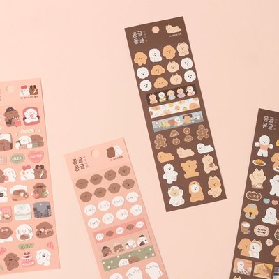 ❅PAVEE❅ 韓國Dash and Dot~ Mongle 親親小動物 可重複貼 防水裝飾手帳貼紙