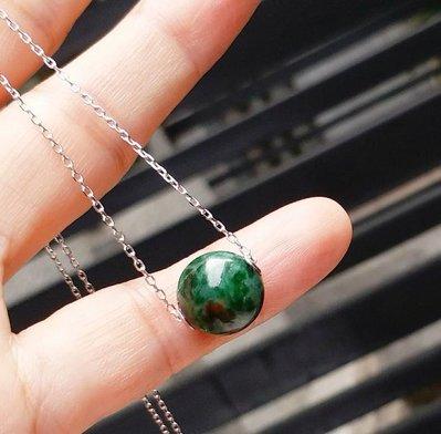 嗨,寶貝銀飾珠寶* 翡寶石飾品☆925純銀飾品 保證緬甸玉A貨 氣質 高雅 色澤油亮 濃郁 滿綠翡翠 鎖骨鍊項鍊 套鍊