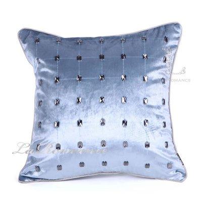 【芮洛蔓 La Romance】現代時尚系列淺藍釘壓克力片造型抱枕 / 靠枕 / 靠墊 / 方枕